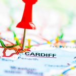 Red pushpin showing Cardiff City On Map, Wales, United Kingdom, Travel Destination Concept