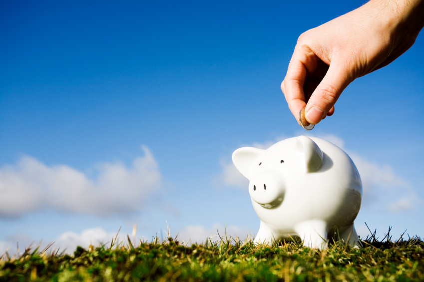 piggy bank on grass with blue skies.