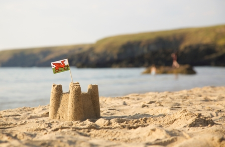 Welsh sandcastle on Wales beach