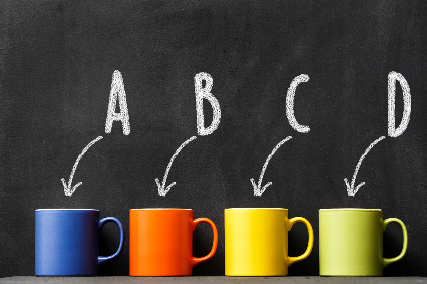 Arrows pointing to colourful mugs with arrows, A,B, C, D