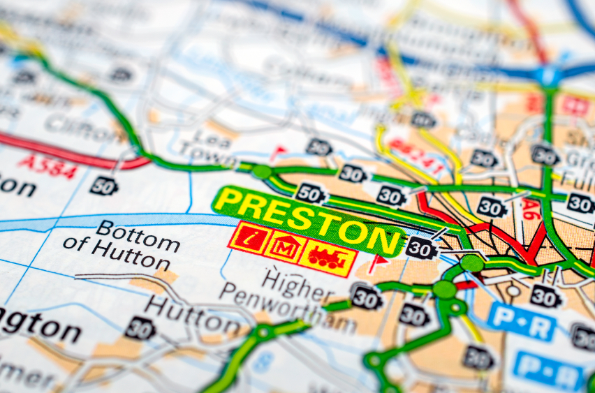 map showing preston