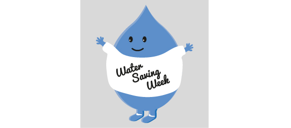 Water droplet wearing tshirt saying water saving week