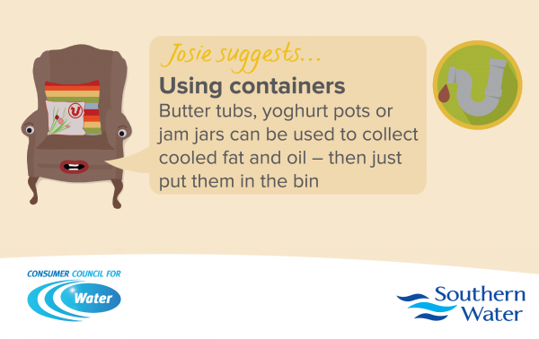 joint CCW and Southern Water infographic about using containers
