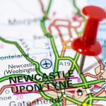 red pin on Newcastle upon Tyne map