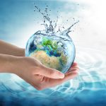 water conservation in Europe - water globe in the hands