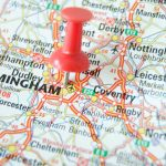 Birmingham Map Marked with Pushpin