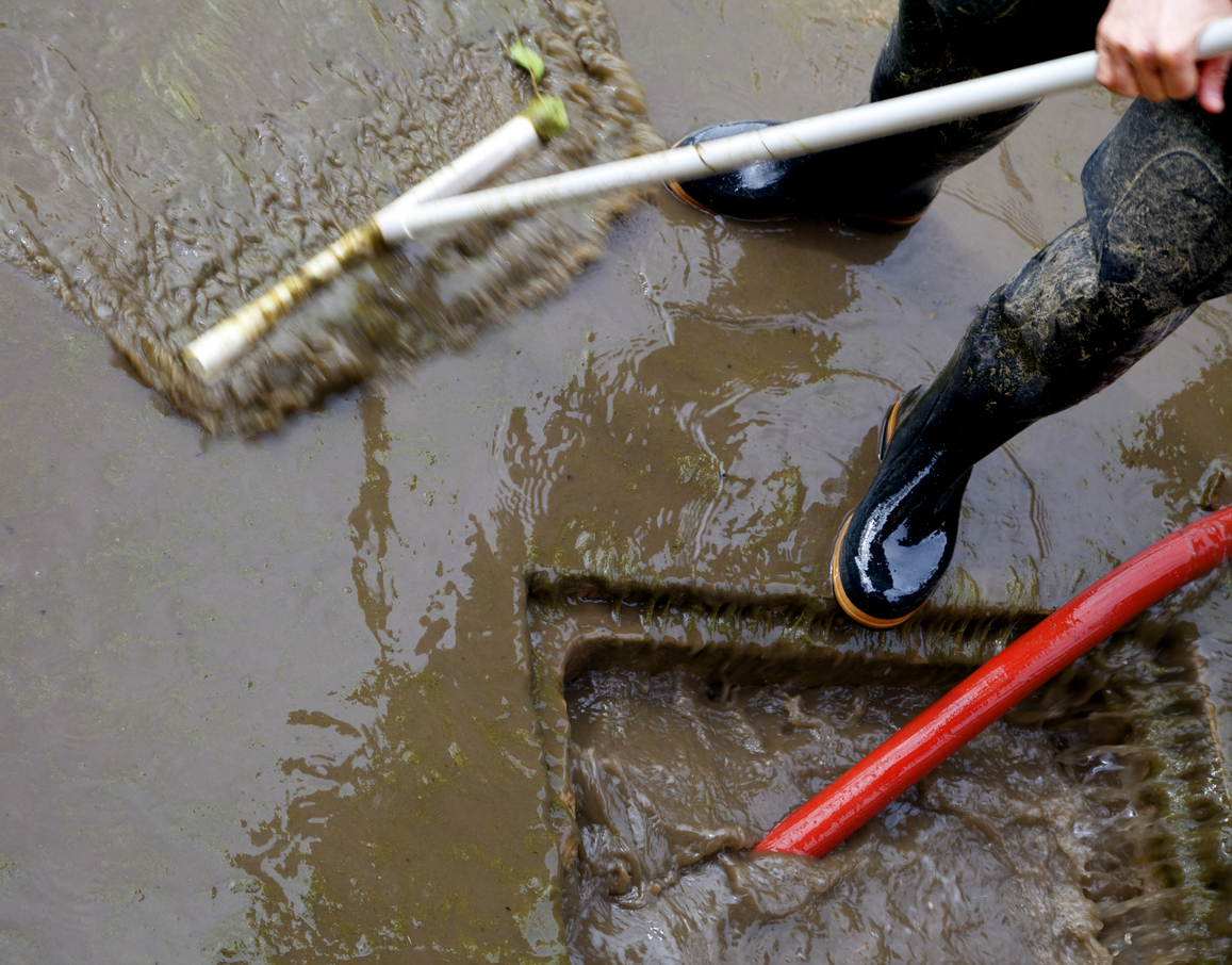 Storm sewer flood dirty water cleanup