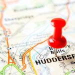 red pin on huddersfield on map