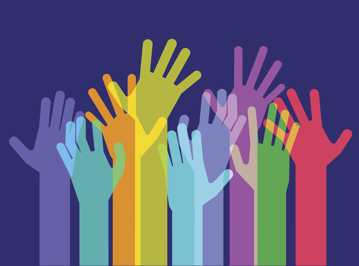 Colourful overlapping silhouettes of Hands raised.