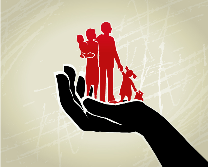 Parents and children standing on a giant protective hand