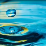 Water droplet droping in water