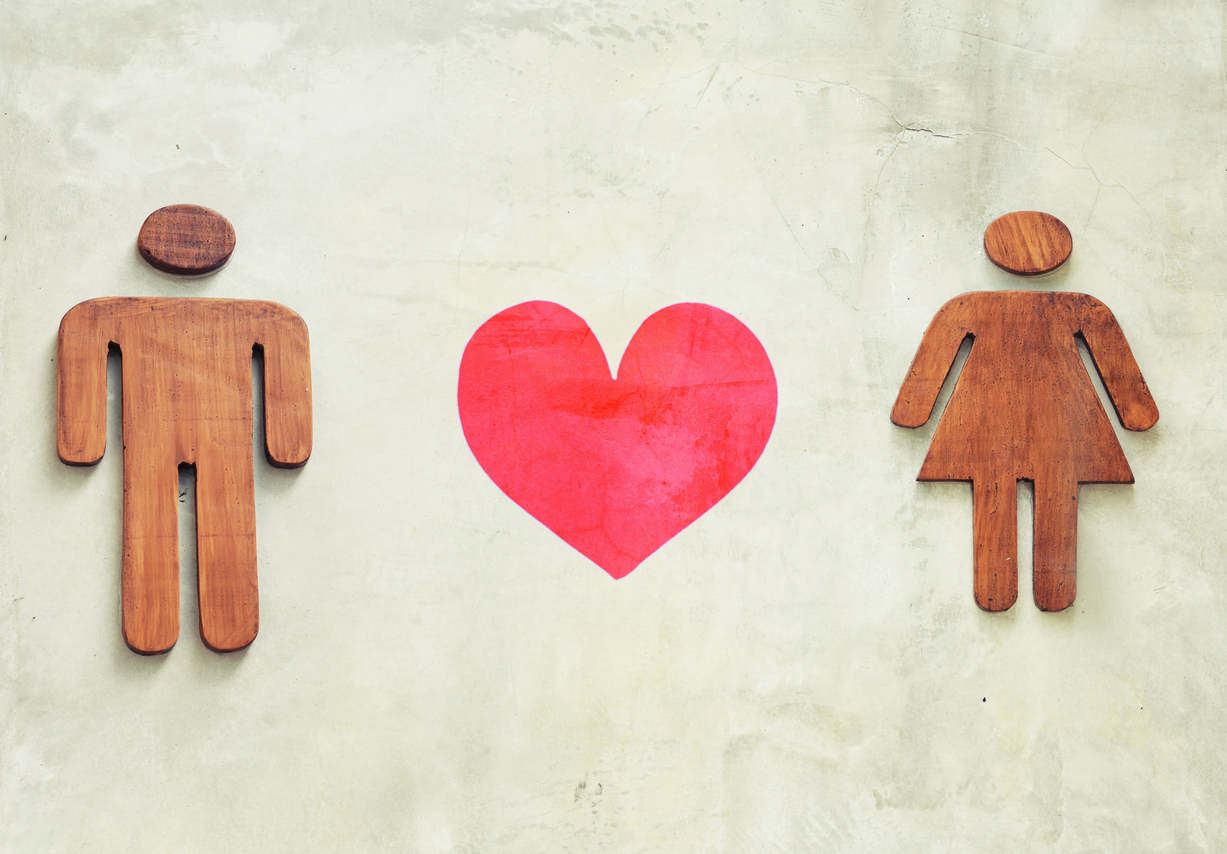 wooden man and woman with love concept