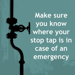 Make sure you know where the stop tap is in case of an emergency