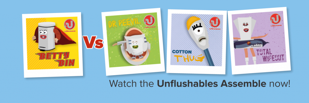 The Unflushables cast - Betty Bin takes on Dr Peevil, Cotton Thug and Total Wipeout