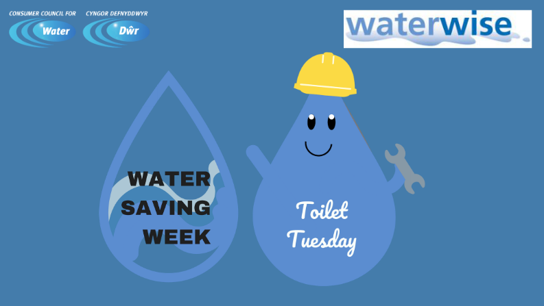 two water droplets - water saving week and toilet tuesday
