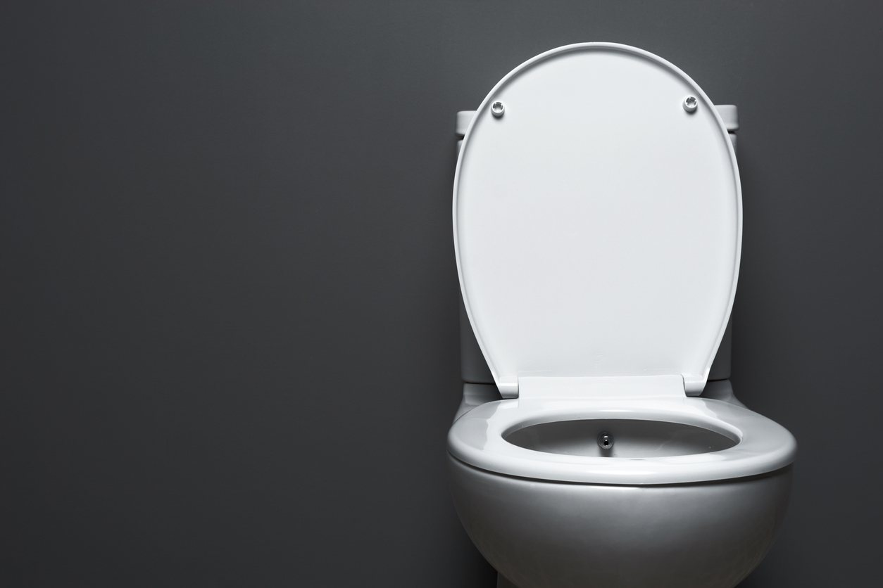 ToiletPlain white toilet on grey background.