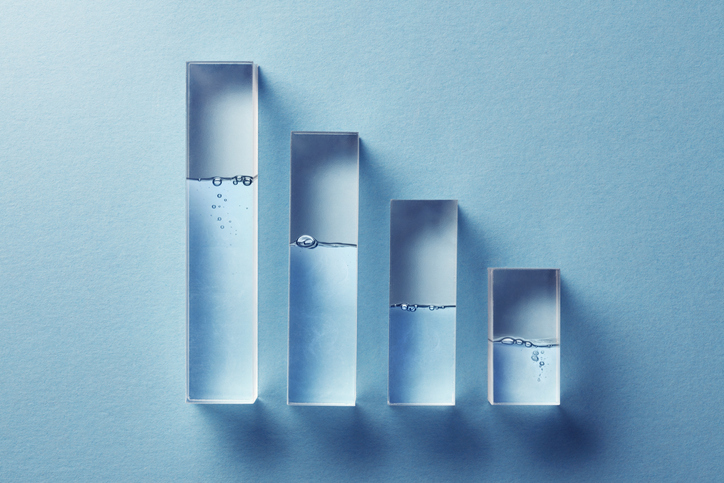 Transparent bar graphs with water.