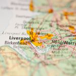 The city of Liverpool on a map
