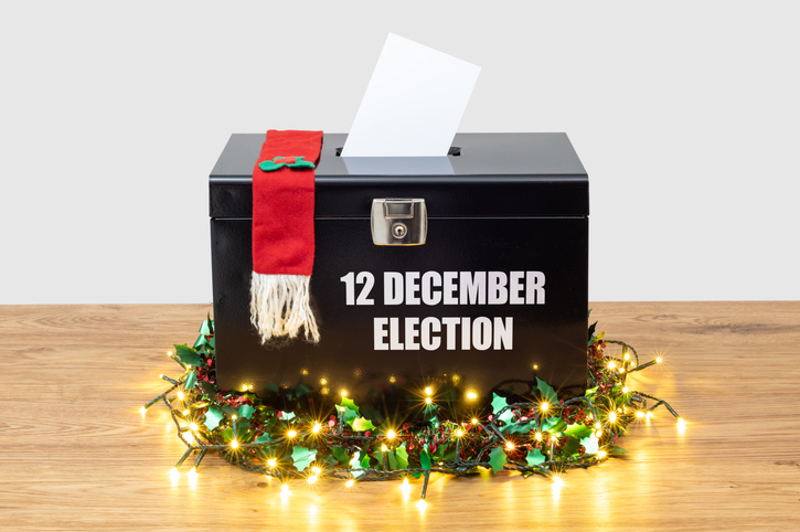 Concept for the 12 December 2019 Election in UK, first Christmas election in a century.