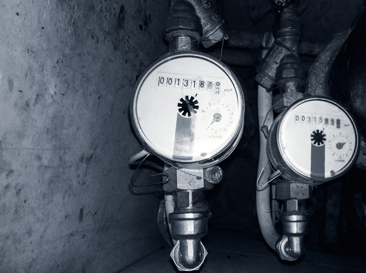 Two water meters, hot and cold