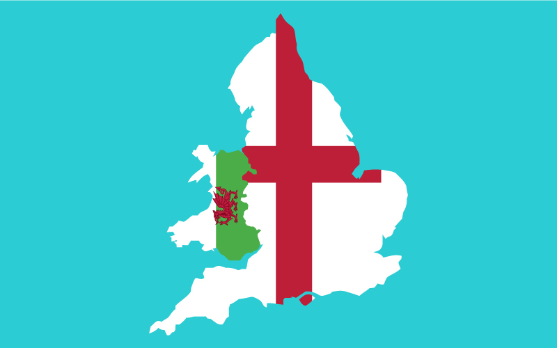 Map of England and Wales on blue background.