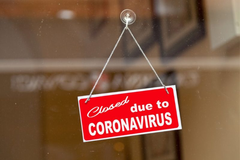 closed sign on shop due to coronavirus