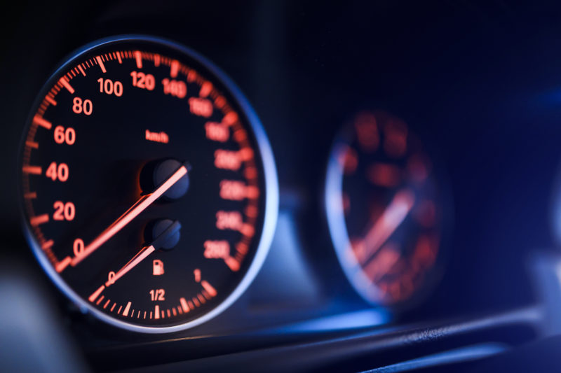 Close-up view of car speedometer
