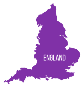 Map of England in purple