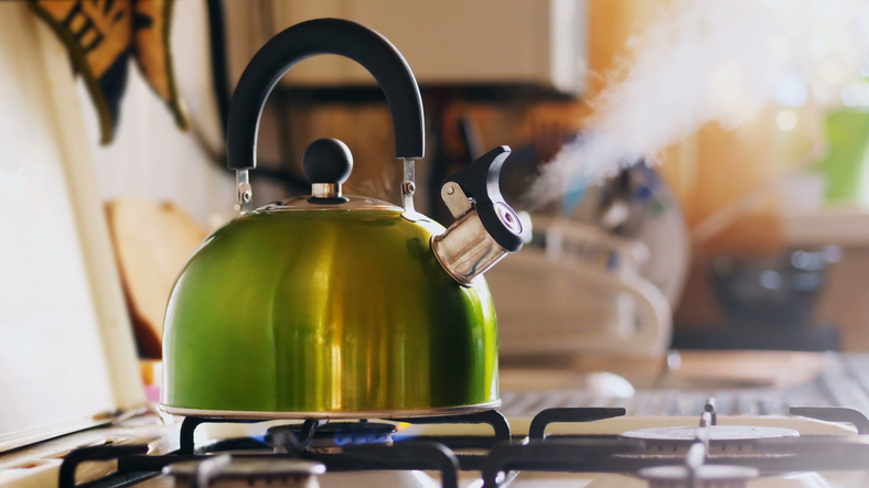 Boiling water on gas stove